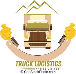 gamle, illustration., vinhøst, selskab, trucking, vektor, forside, logo, truck., image, udsigter