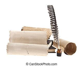 gamle, isoleret, avis, baggrund, fjer, hvid