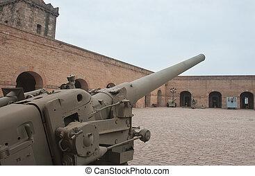 gamle, kanon, ind, militær, museum