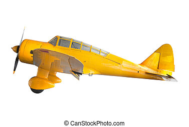 gamle, klassisk, gul, flyvemaskine, isoleret, hvid