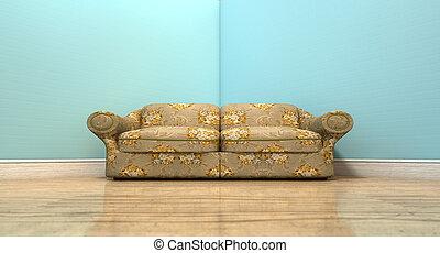 gamle, klassisk, sofa, et rum