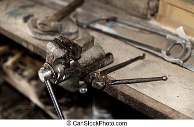 gamle, konstruktion, tools.