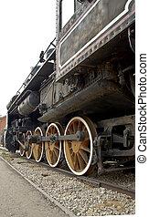 gamle, lokomotiv, hjul, lukke, oppe., damp, train.