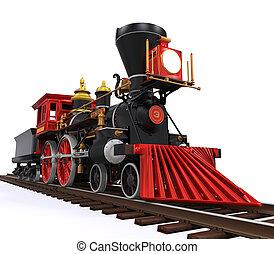 gamle, lokomotiv, tog
