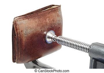 gamle, medtaget, tegnebog, er, squeezed, ind, en, c klampe
