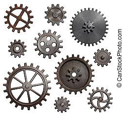 gamle, metal, det gears, og, cogs, isoleret, 3, illustration