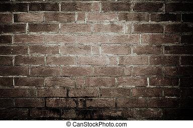 gamle, mursten mur, baggrund, tekstur