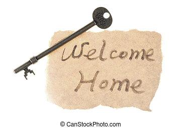 gamle, nøgle, og, velkomst til hjem, gloser