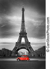 gamle, paris, automobilen, eiffel, -, tårn, rød