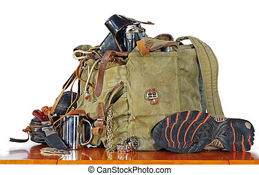 gamle, rejsende, udrustning
