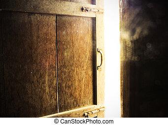 gamle, rum, door., mørke, aflukket, lysende