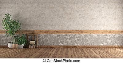 gamle, rum, gulv, træagtig mur, tom
