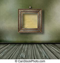 gamle, rum, hos, træagtig ramme, ind, firmanavnet, victoriansk