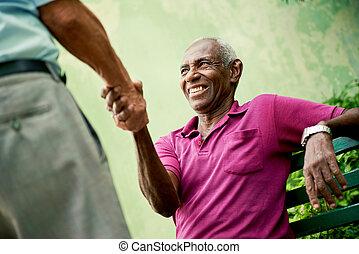 gamle, sorte og, kaukasisk, mænd, møde, og, hånd ryst, park