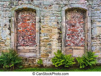 gamle, sten mur, hos, alkover