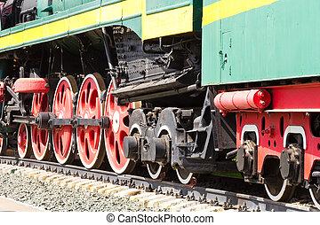 gamle, tog, hjul
