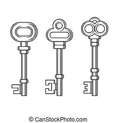 gamle, vinhøst, nøgler, sæt, på hvide, baggrund., vektor