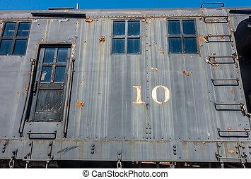 gamle, vogn jernbane, closeup, 2