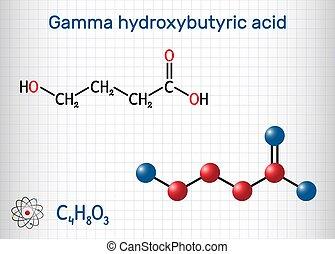 Gamma-hydroxybutyric acid, GHB, C4H8O3 molecule. It is ...