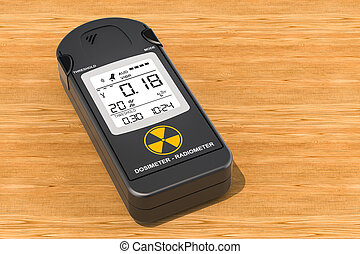 Gamma Radiation Personal Dosimeter on the wooden table, 3D rendering