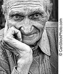 gammal, äldre bemanna, med, rynkig, ansikte
