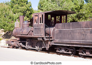gammal, ånga, lokomotiv
