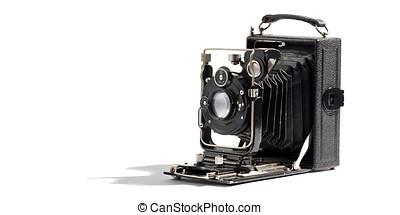 gammal, årgång, bälg, kamera