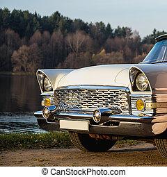 gammal, årgång, eller, retro, bil, främre del, sida
