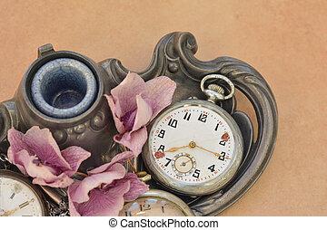 gammal, årgång, ficka, antikvitet, klocka