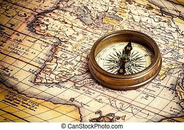 gammal, årgång, kompass, på, forntida, karta