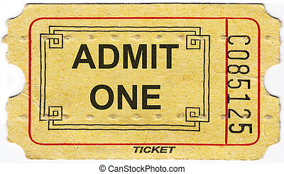 gammal, årgång, papper, biljett, med, numrera