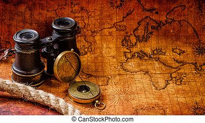 gammal, årgång, retro, kompass, och, kikare, på, forntida, världen kartlägger