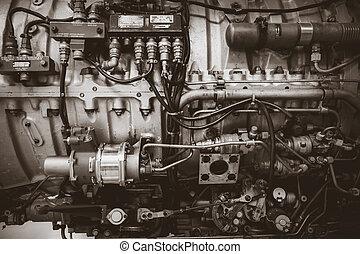 gammal, årgång, svart, foto, airplane, engine., vit