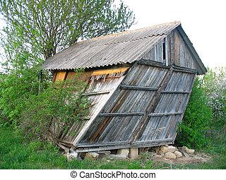 gammal, övergiven, trähus, liten, böjd