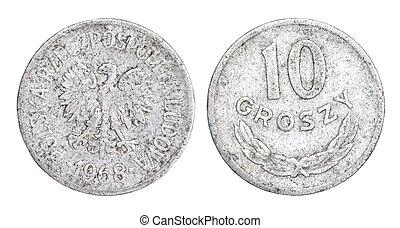 gammal, 10, groszy, mynt, av, polen
