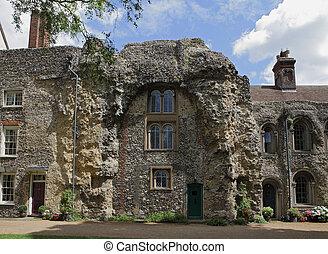 gammal, abbotskloster, fördärvar, begrava, st, edmunds