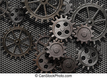 gammal, abstrakt, maskin, rostig, särar, utrustar