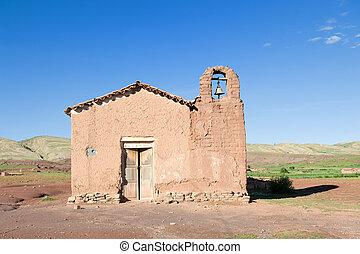 gammal, adobe, kyrka