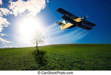 gammal, airplane, sky