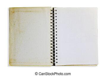 gammal, anteckningsbok, grunge
