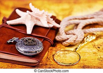 gammal, anteckningsbok, loupe, och, kompass, på, den, karta