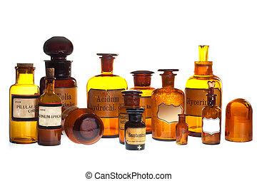 gammal, apotek, flaskor
