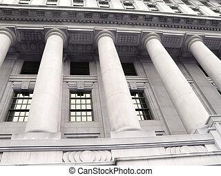 gammal, bank, byggnad