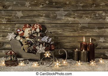 gammal, barn, toys, och, fyra, brännande, advent, vaxljus, på, trä, vint