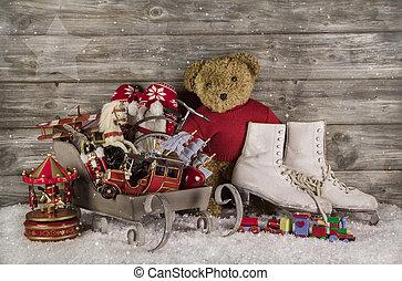 gammal, barn, toys, på, trä, bakgrund, för, jul, decoration.