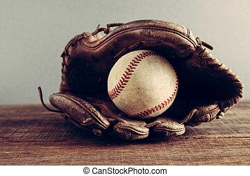 gammal, baseball, och, handske, på, ved, bakgrund, med, filtrera, verkan, retro, årgång, stil