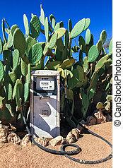 gammal, bensin, gas pumpa, station, smutsa ner, desert.