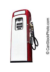 gammal, bensin pumpa, isolerat