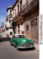 gammal, bil, in, kuban, gata