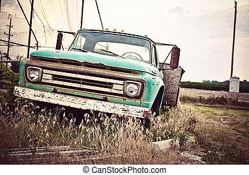 gammal, bil, väg, oss, rostig, historisk, 66, längs